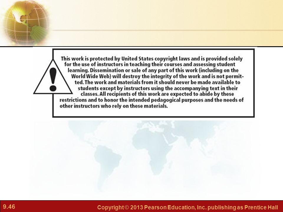 9.46 Copyright © 2013 Pearson Education, Inc. publishing as Prentice Hall