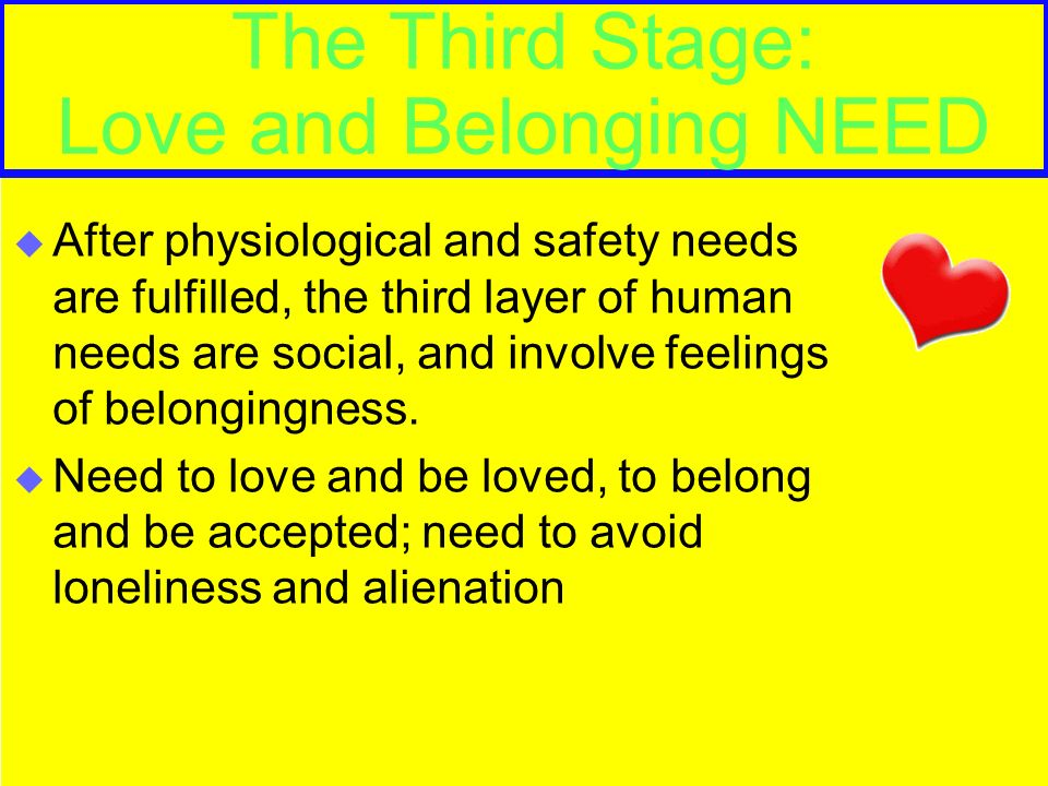 The Third Stage: Love and Belonging NEED  After physiological and safety needs are fulfilled, the third layer of human needs are social, and involve feelings of belongingness.