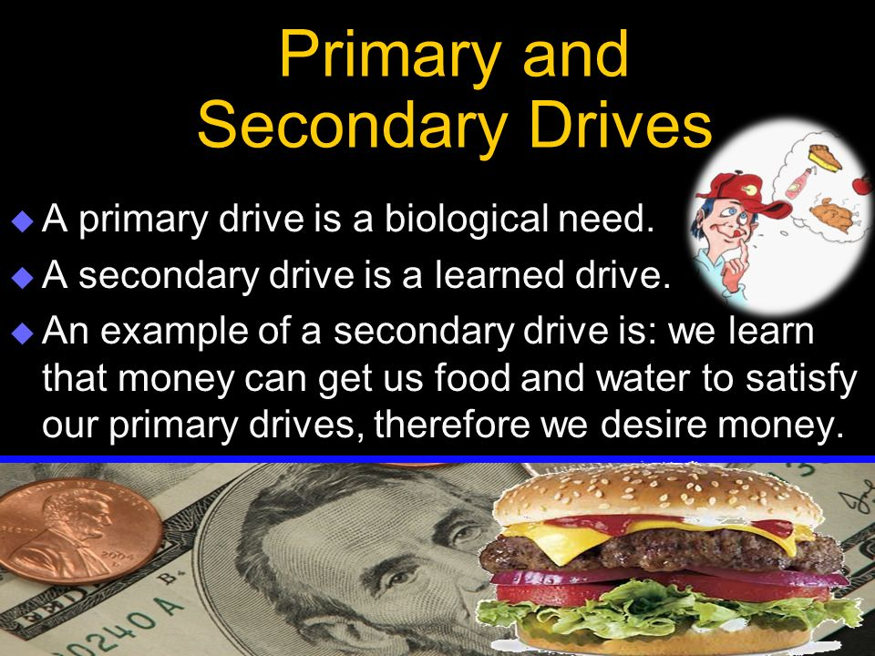 Primary and Secondary Drives  A primary drive is a biological need.  A secondary drive is a learned drive.  An example of a secondary drive is: we