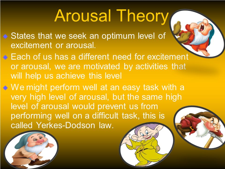Arousal Theory  States that we seek an optimum level of excitement or arousal.