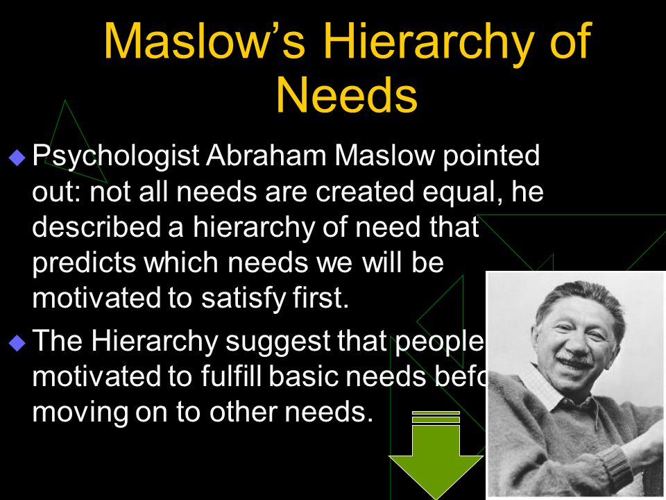 Maslow's Hierarchy of Needs  Psychologist Abraham Maslow pointed out: not all needs are created equal, he described a hierarchy of need that predicts
