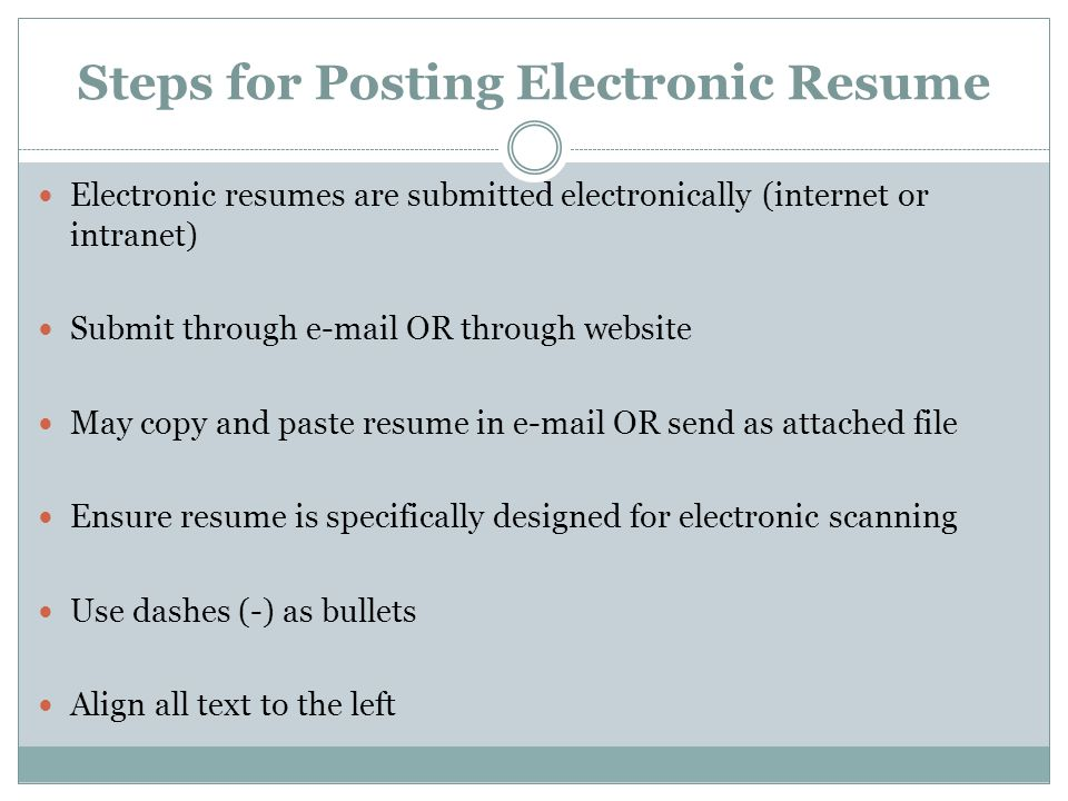 7 steps for posting electronic resume electronic resumes are submitted
