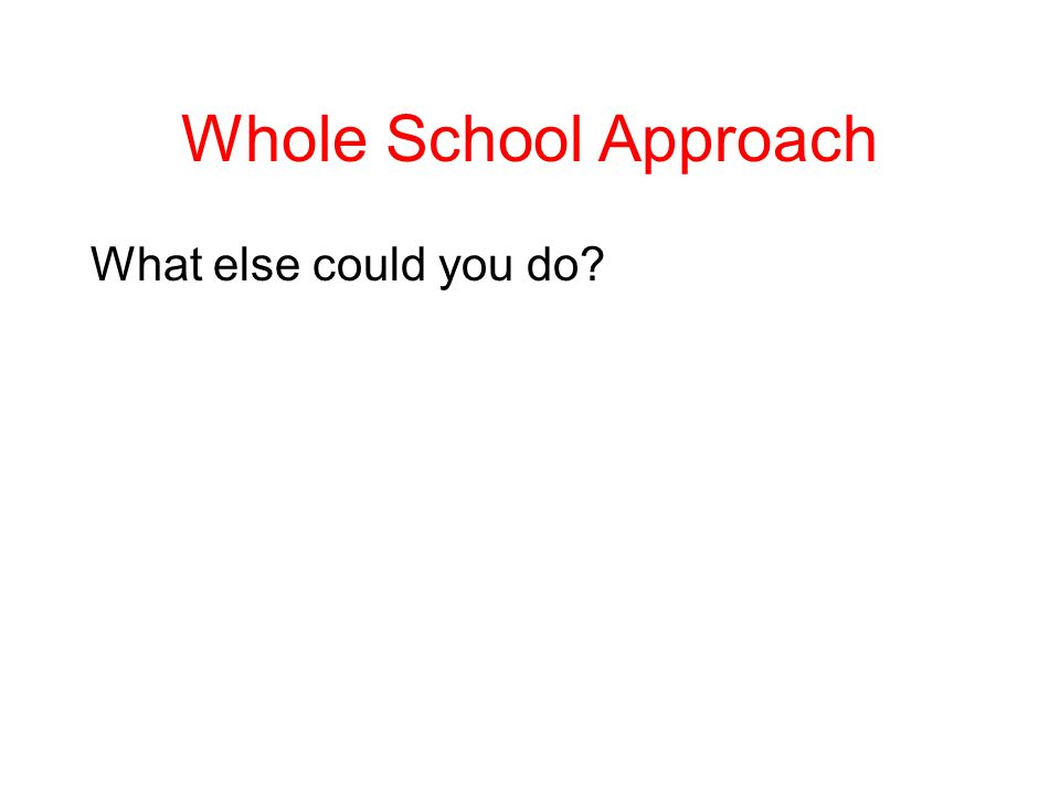 Whole School Approach What else could you do