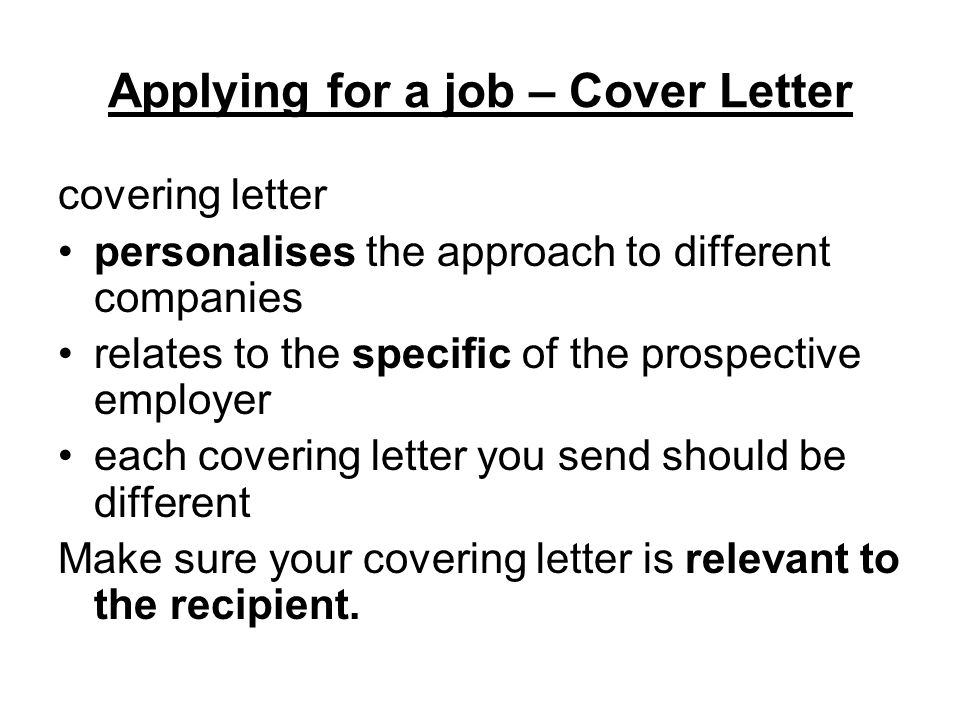 Applying For A Job Applying For A Job  Structure Of Cv Personal