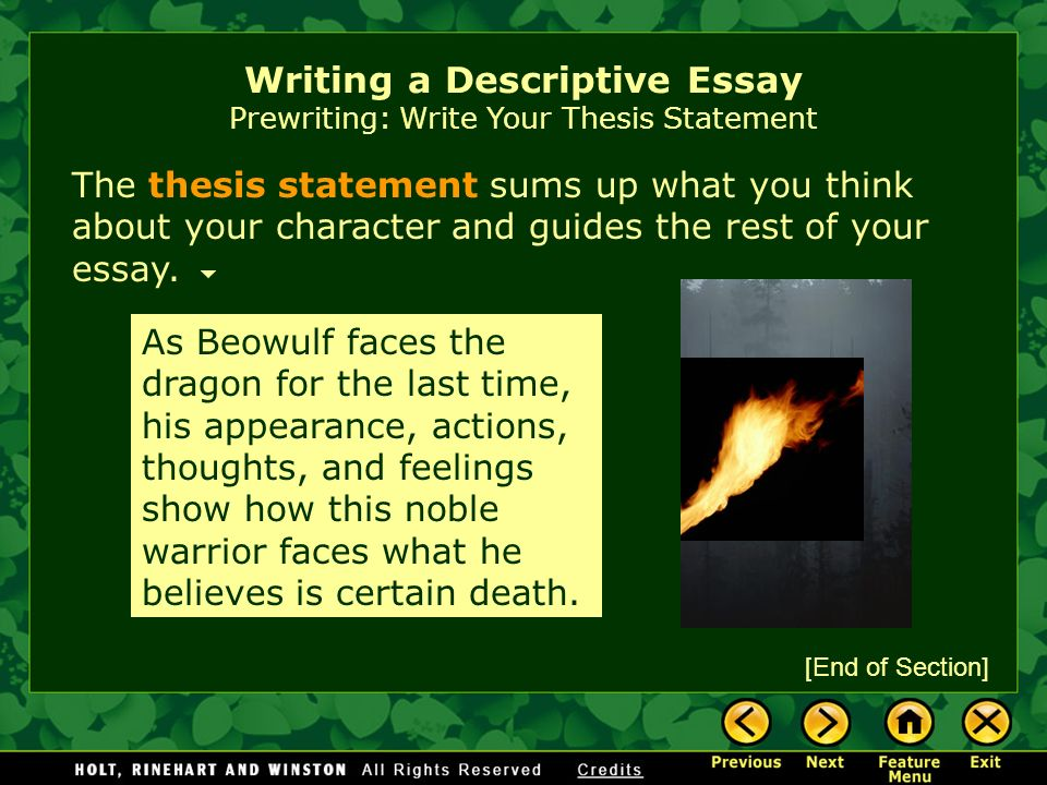 Best English Essays  Writing A Descriptive Essay Prewriting Write Your Thesis Statement  Essay About Business also Essay On Pollution In English Writing Workshop Writing A Descriptive Essay Assignment Prewriting  An Essay About Health