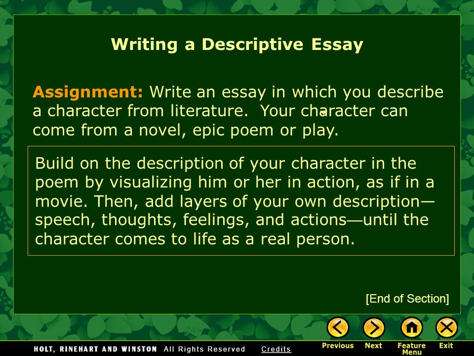 descriptive essay writing assignments Coming up with a good writing topic can be one of the hardest parts of composing an essay these 400 writing topic suggestions can make that job easier.