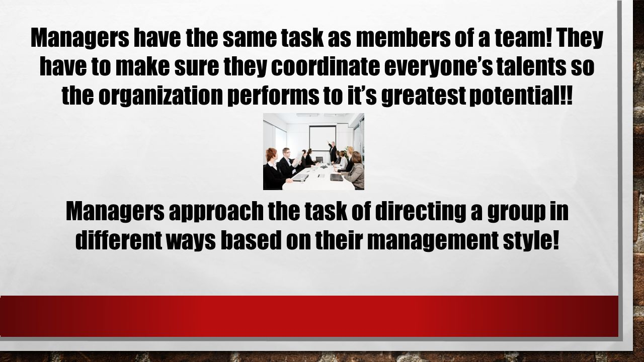Managers have the same task as members of a team.