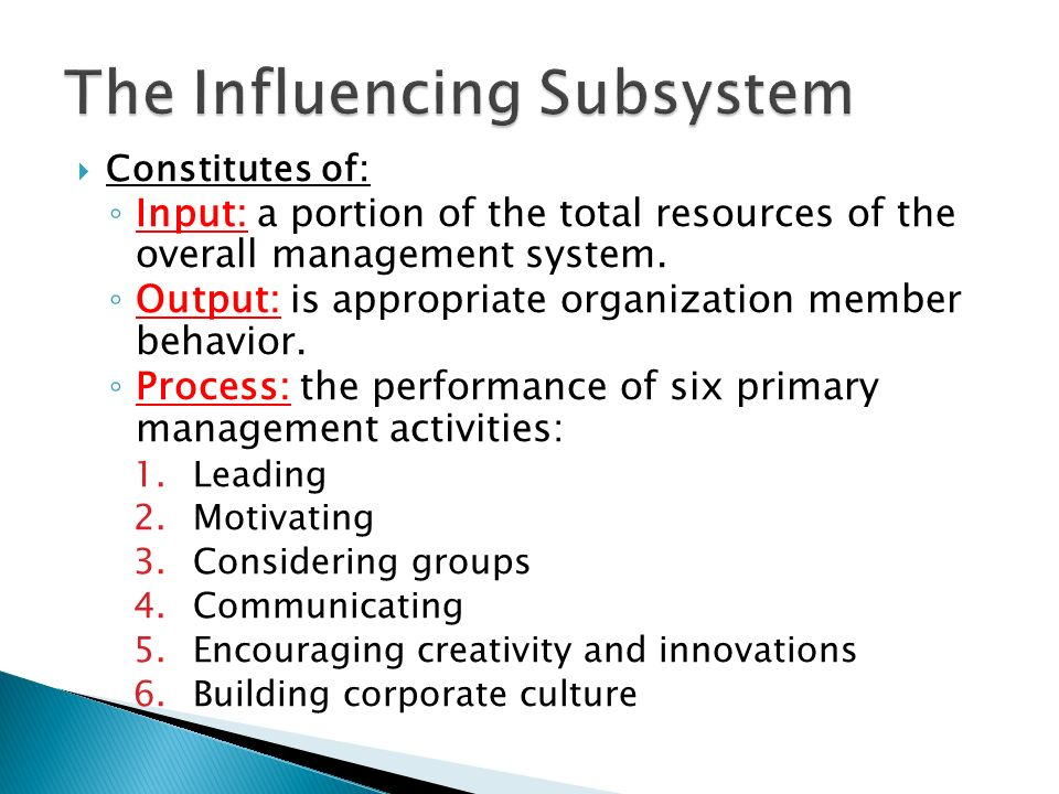  Managers transform input (a portion of organizational resources) into output (appropriate organization member behavior) mainly by performing these activities.