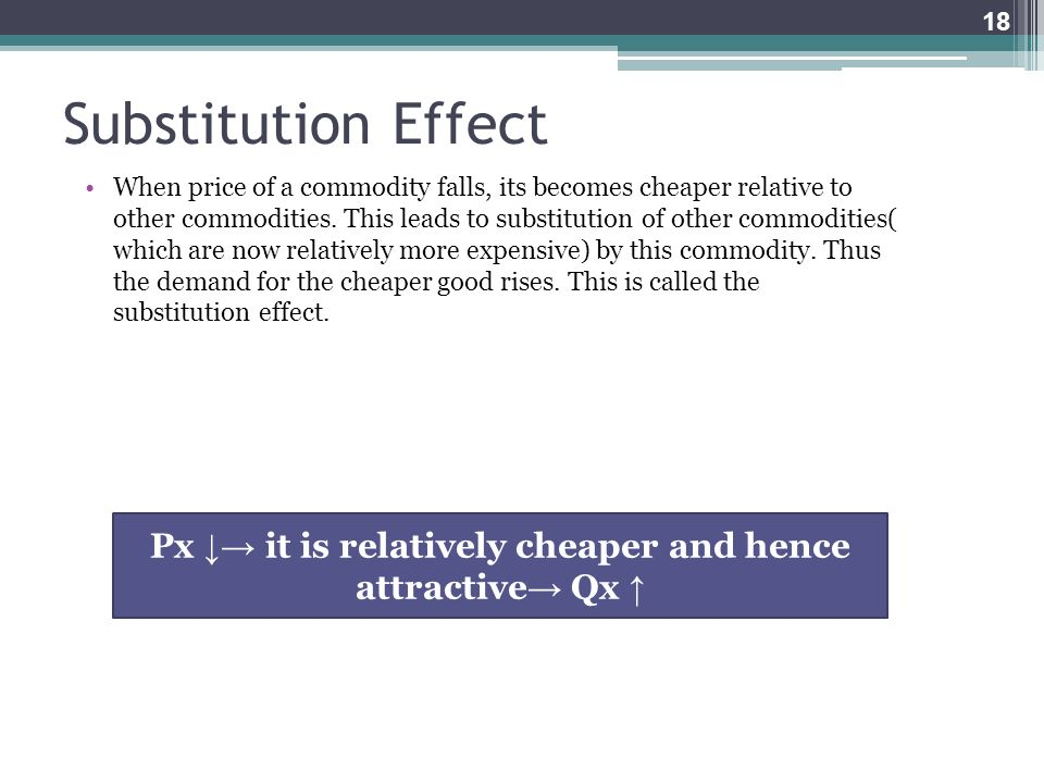 Substitution Effect When price of a commodity falls, its becomes cheaper relative to other commodities. This leads to substitution of other commoditie