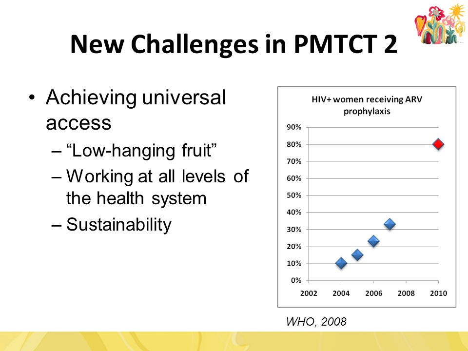 New Challenges in PMTCT 2 Achieving universal access – Low-hanging fruit –Working at all levels of the health system –Sustainability WHO, 2008