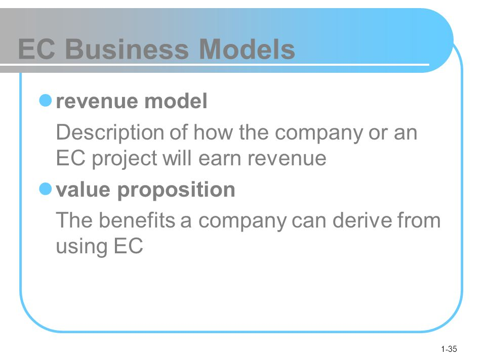 1-35 EC Business Models revenue model Description of how the company or an EC project will earn revenue value proposition The benefits a company can derive from using EC