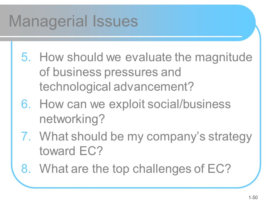 1-50 Managerial Issues 5.How should we evaluate the magnitude of business pressures and technological advancement.