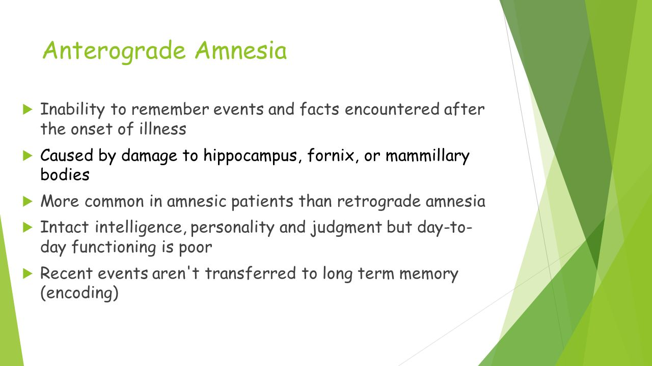anterograde amnesia summary Abstract amnesia is a condition that impacts many people worldwide this essay illustrates the basic overview of the condition alongside the primary components that make up the condition.