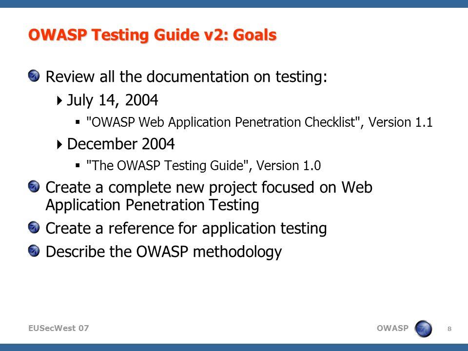 Owasp web application penetration checklist