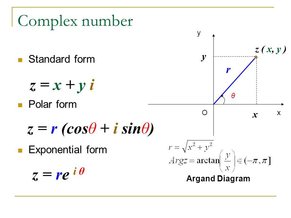 Complex number Standard form Polar form Exponential form z ( x, y ...