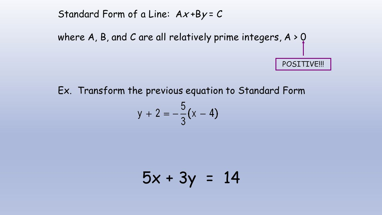 Notes a7 review of linear functions linear functions slope ex standard form of a line ax by c where a b falaconquin