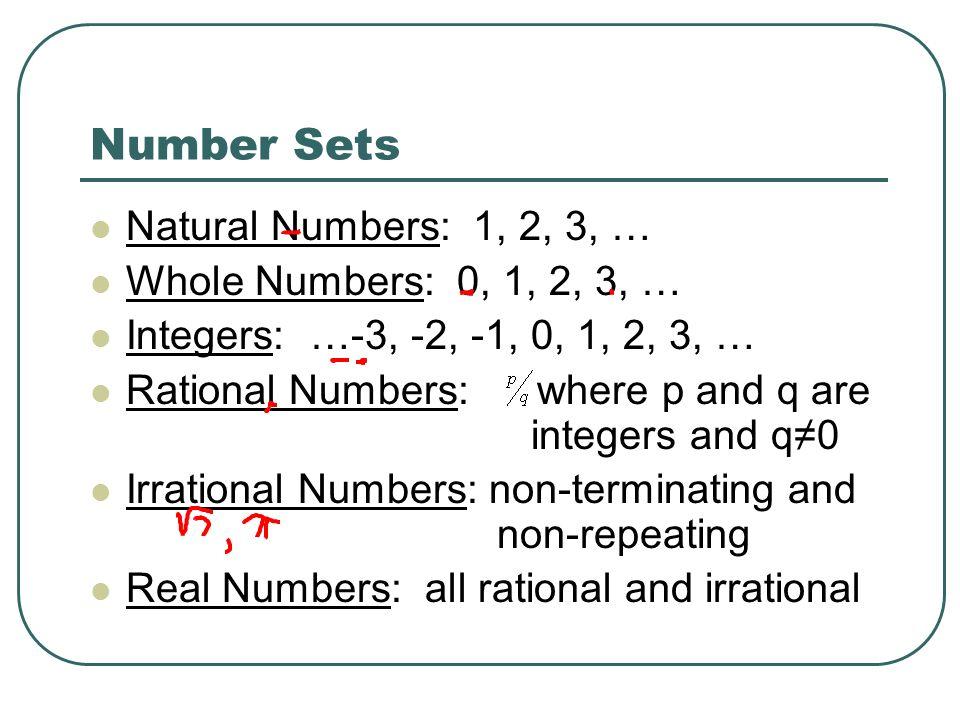 Classifying Numbers Properties Number Sets Natural Numbers 1 2 – Classifying Rational and Irrational Numbers Worksheet