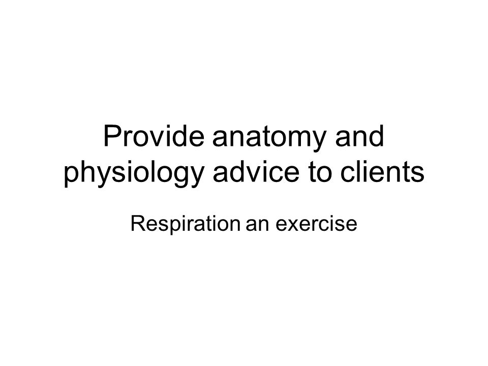 Provide anatomy and physiology advice to clients Respiration an ...