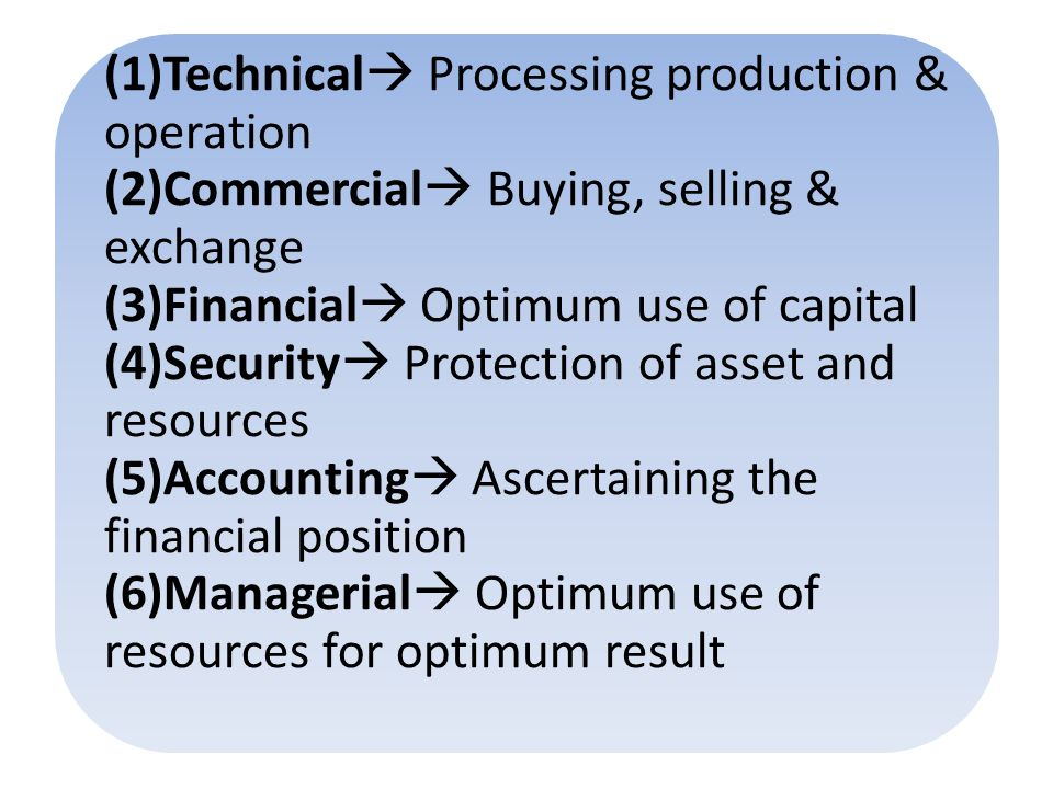 (1)Technical  Processing production & operation (2)Commercial  Buying, selling & exchange (3)Financial  Optimum use of capital (4)Security  Protection of asset and resources (5)Accounting  Ascertaining the financial position (6)Managerial  Optimum use of resources for optimum result