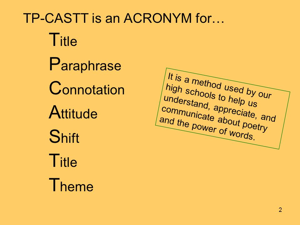 TP-CASTT is an ACRONYM for… T itle P araphrase C onnotation A ttitude S hift T itle T heme It is a method used by our high schools to help us understand, appreciate, and communicate about poetry and the power of words.