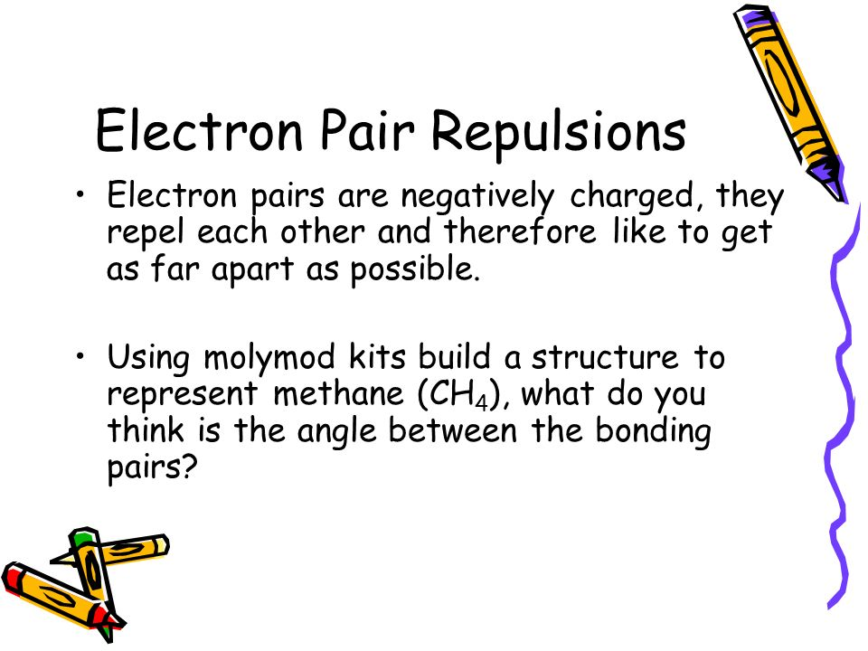 Electron Pair Repulsions Electron pairs are negatively charged, they repel each other and therefore like to get as far apart as possible.