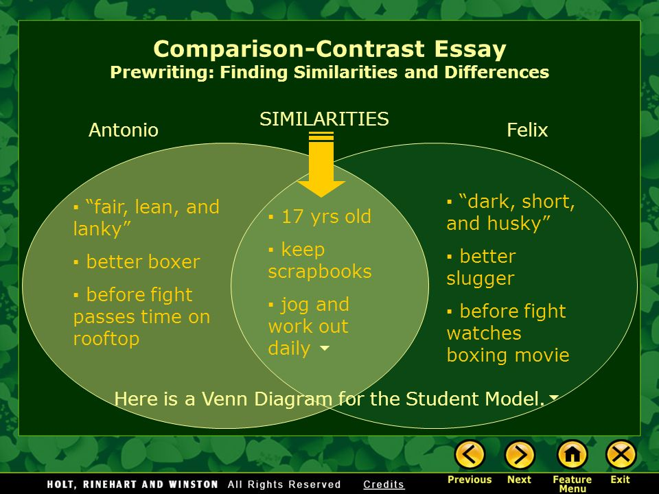 the comparison and contrast essay the
