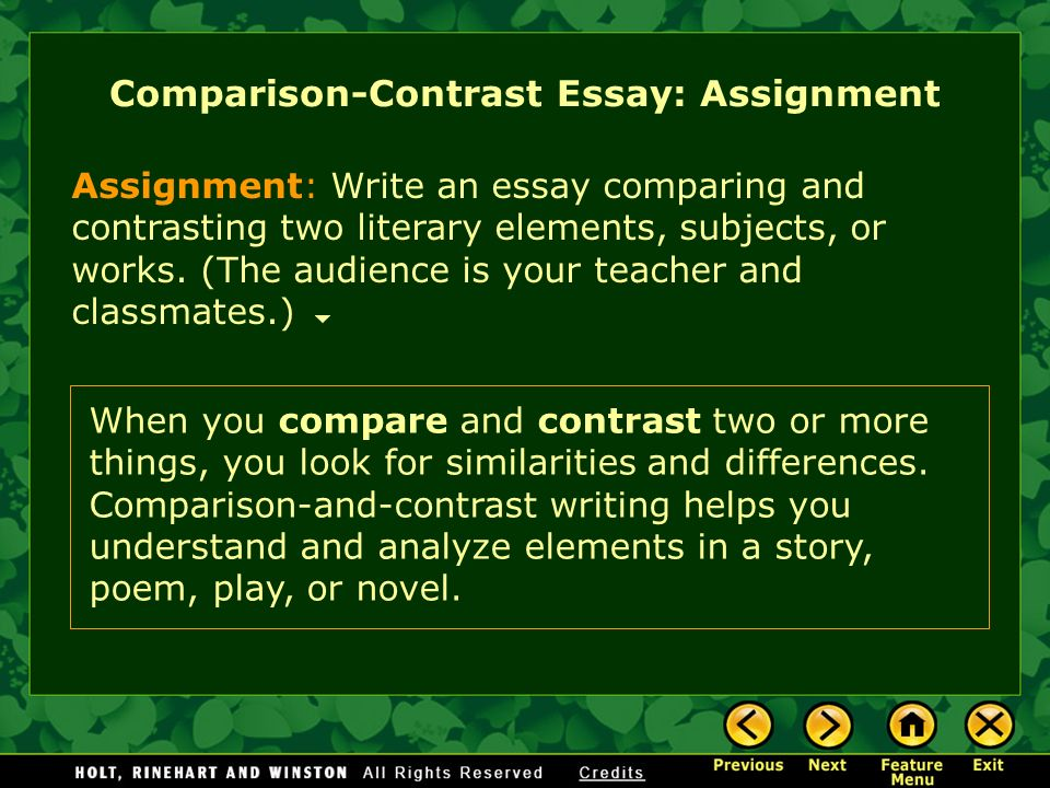 writing workshop expository writing comparison contrast essay  assignment write an essay comparing and contrasting two literary elements subjects or works