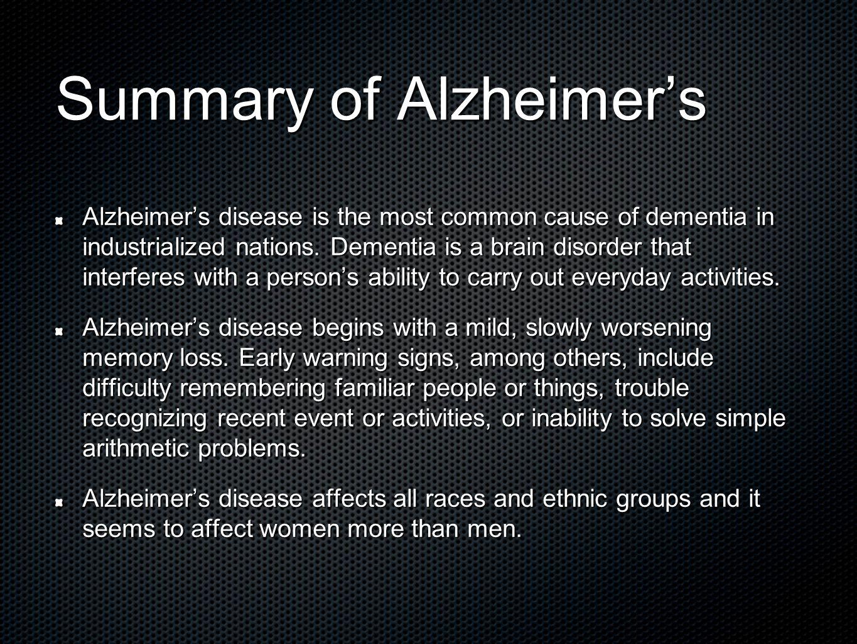 summary of alzheimer's disease