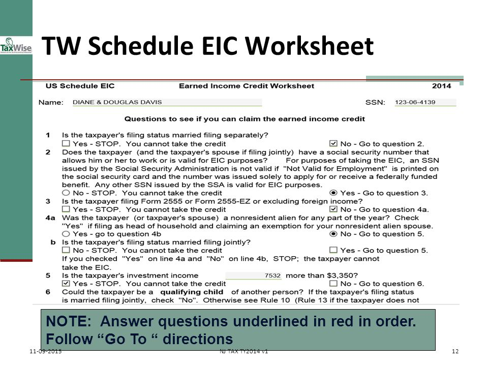 schedule eic worksheet Termolak – Eic 2014 Worksheet