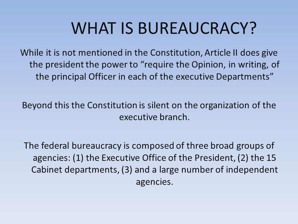 THE FEDERAL BUREAUCRACY Chapter 15. Is the bureaucracy essential ...