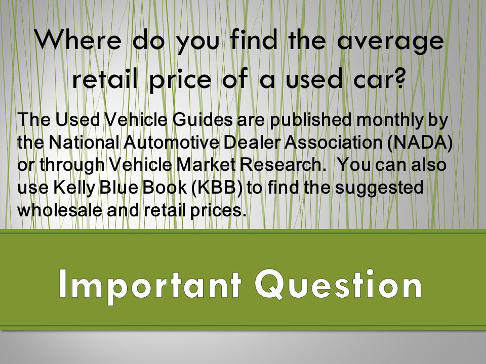 9.3 Purchasing a Used Vehicle 1) = 2)14500 – = 3)Sport truck with ...