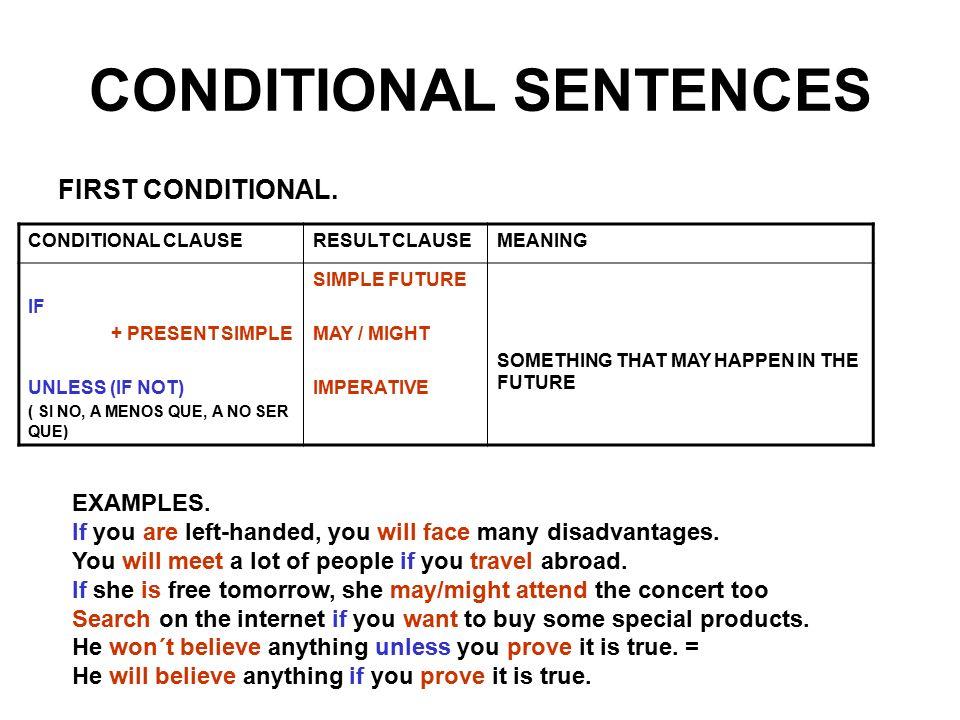 CONDITIONAL SENTENCES FIRST CONDITIONAL. CONDITIONAL SENTENCES   TOP MARKS 1  BACHILLERATO p 82