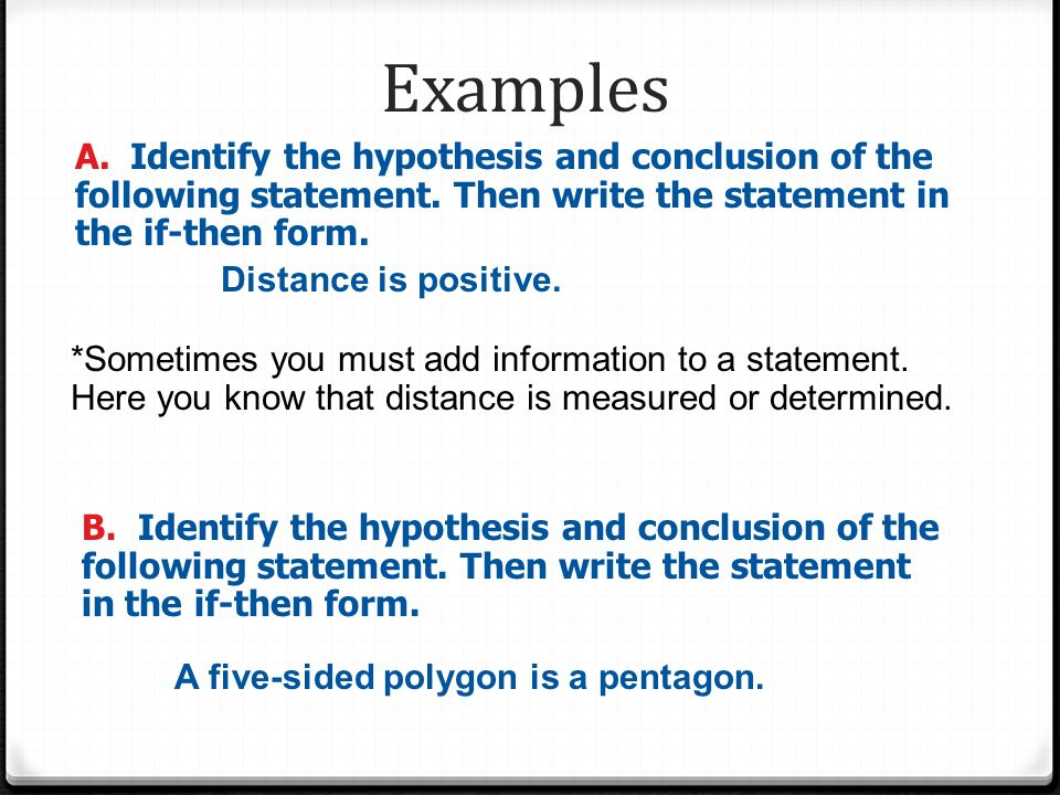 which one of the following is an example of a hypothetical statement
