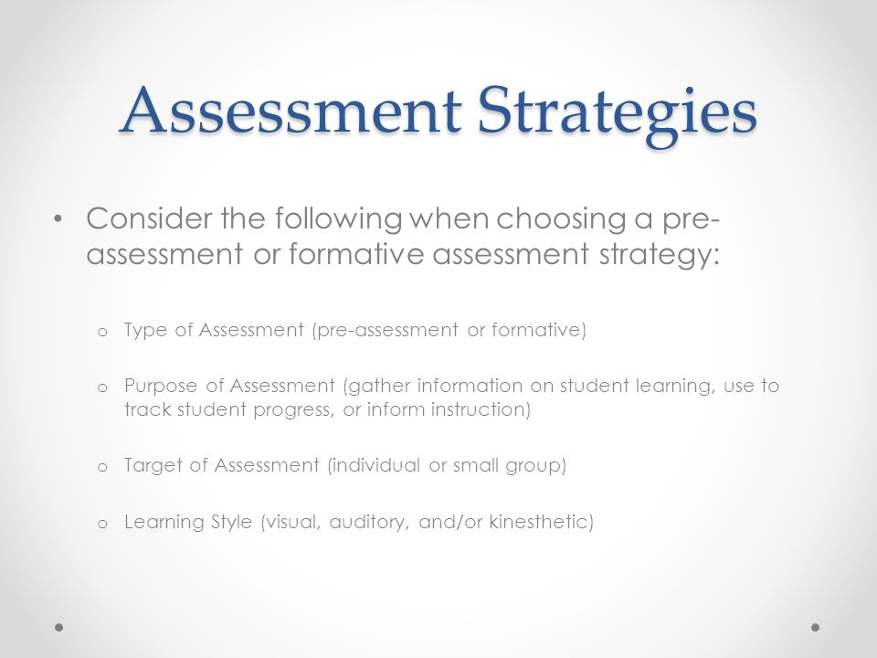 Module 2: Using Pre-Assessment And Formative Assessment To