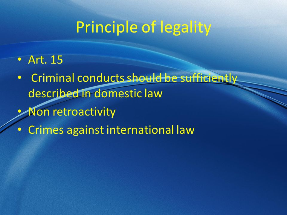 Principle of legality Art.