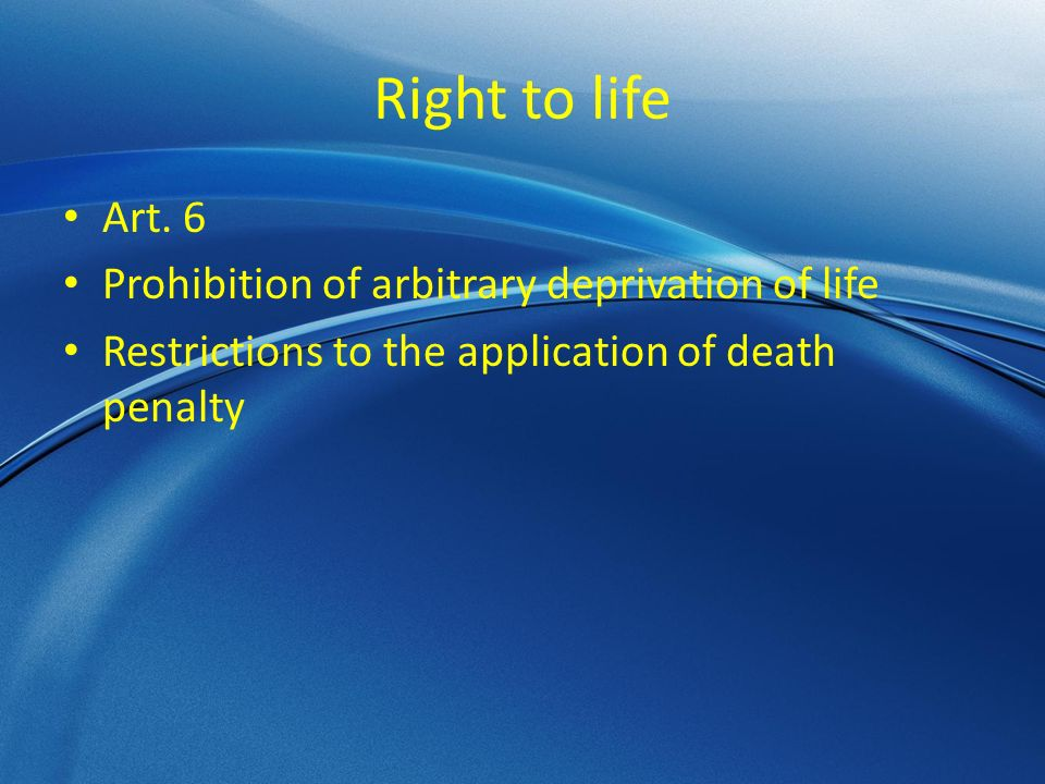 Right to life Art.