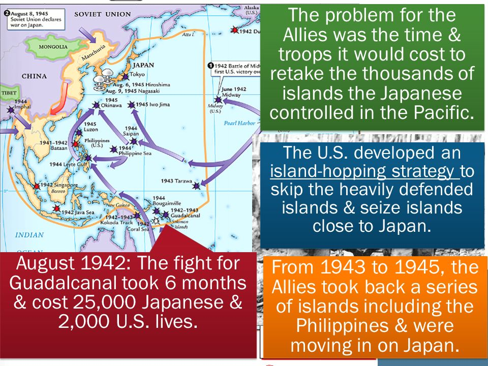 The problem for the Allies was the time & troops it would cost to retake the thousands of islands the Japanese controlled in the Pacific.