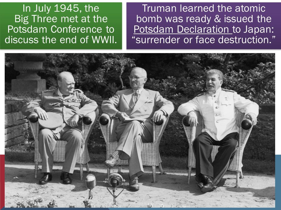 In July 1945, the Big Three met at the Potsdam Conference to discuss the end of WWII.