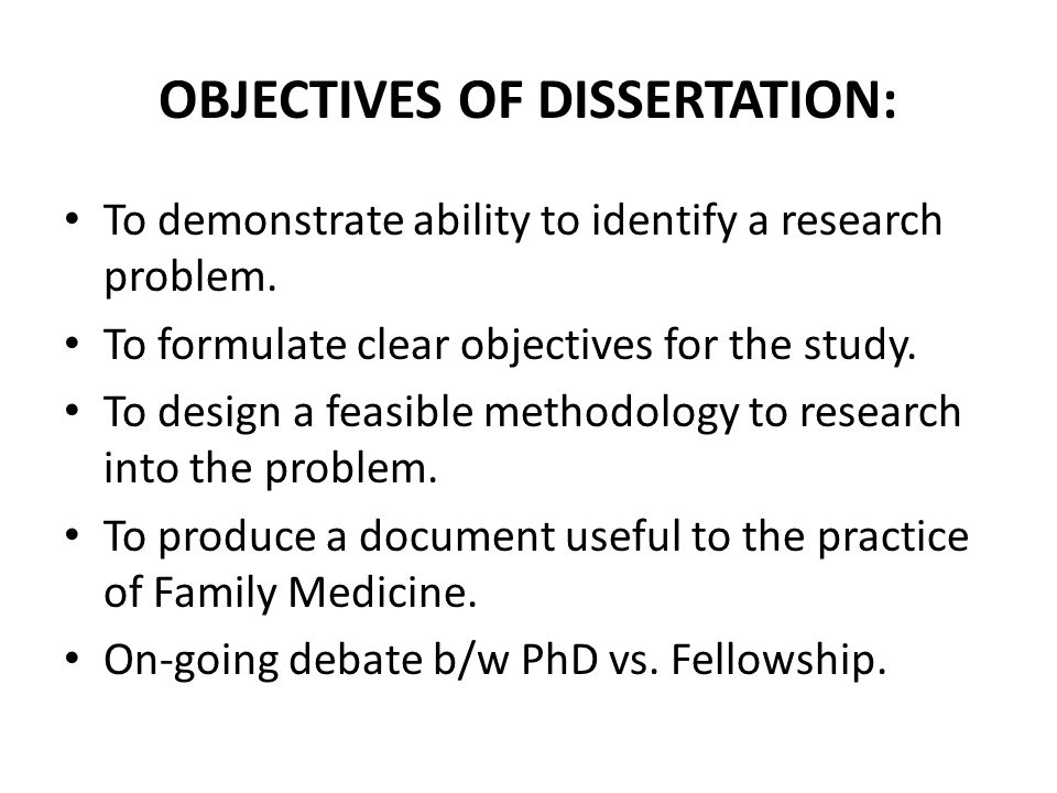 Dissertation Objectives