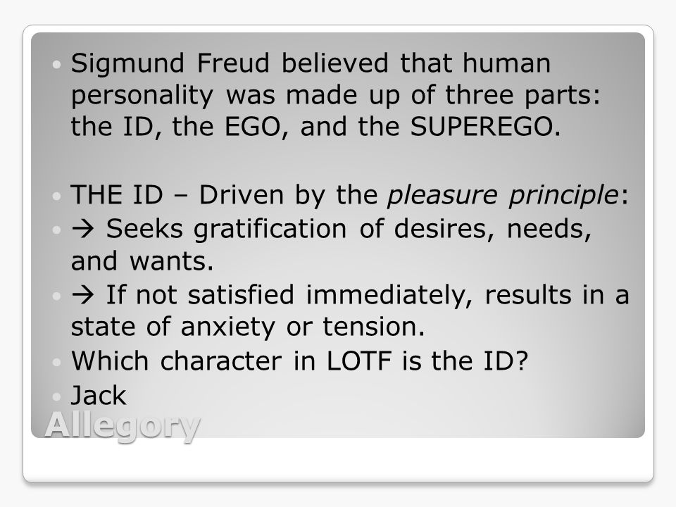 Sigmund Freud ID analysis of The Lord Of Flies?