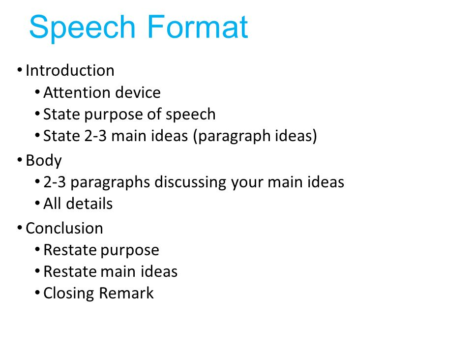 Speech Format Introduction Attention Device State Purpose Of Speech