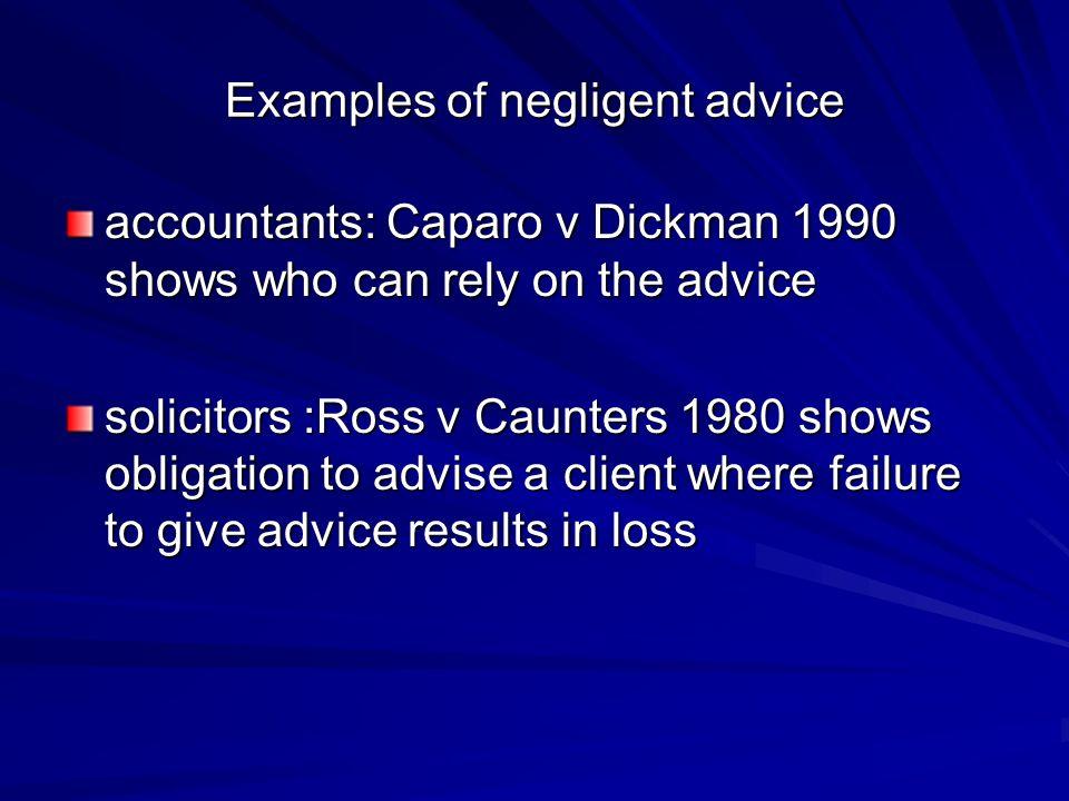 negligent advice
