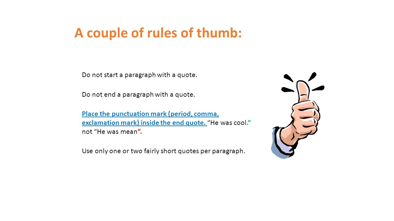 punctuation of quotes in an essay Moving on to punctuation rules in how to write dialogue in an essay, it is best if we show you the six rules along with the dialogue essays examples: put the periods inside the quotation marks wrong: she said, look, if you want a job done properly, you do it yourself.