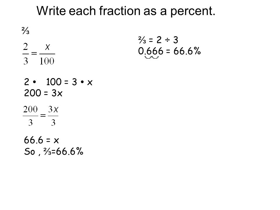 write each fraction as a percent Page 1 of 1 percents, fractions and decimals percents review: write a percent for each situation: 11 students out.