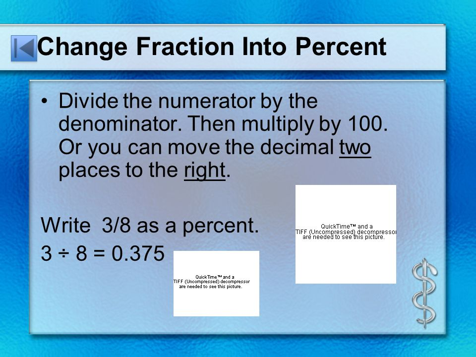 Percent DecimalFraction. Change Percent Into Fraction Write the ...
