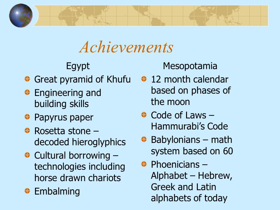 egypt and mesopotamia comparison chart