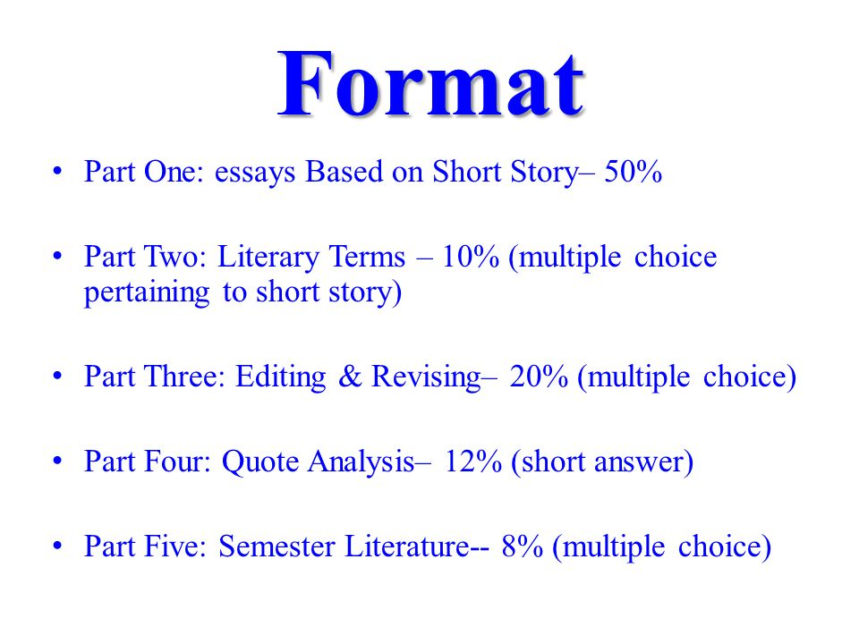 writing short essay format A classic format for compositions is the five-paragraph essay it is not the only format for writing an essay, of course, but it is a useful model for you to keep in mind, especially as you begin to develop your composition skills.