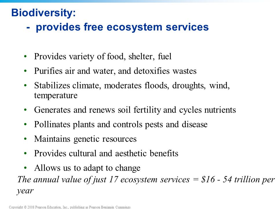 Copyright © 2008 Pearson Education, Inc., publishing as Pearson Benjamin Cummings Biodiversity: - provides free ecosystem services Provides variety of food, shelter, fuel Purifies air and water, and detoxifies wastes Stabilizes climate, moderates floods, droughts, wind, temperature Generates and renews soil fertility and cycles nutrients Pollinates plants and controls pests and disease Maintains genetic resources Provides cultural and aesthetic benefits Allows us to adapt to change The annual value of just 17 ecosystem services = $16 - 54 trillion per year