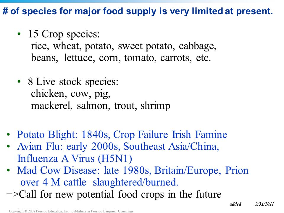 Copyright © 2008 Pearson Education, Inc., publishing as Pearson Benjamin Cummings # of species for major food supply is very limited at present.