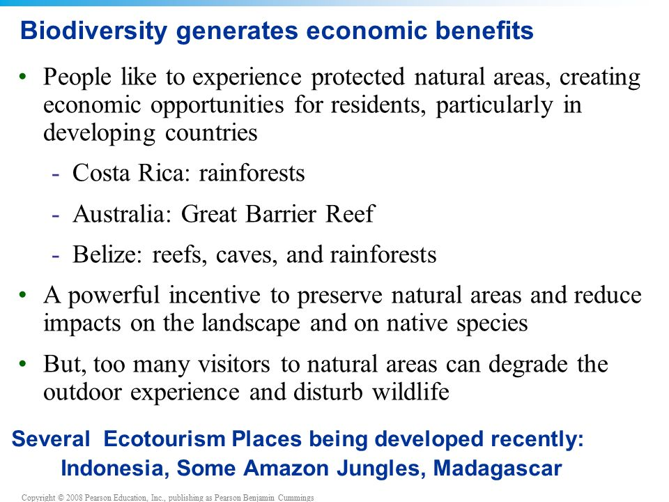 Copyright © 2008 Pearson Education, Inc., publishing as Pearson Benjamin Cummings Biodiversity generates economic benefits People like to experience protected natural areas, creating economic opportunities for residents, particularly in developing countries -Costa Rica: rainforests -Australia: Great Barrier Reef -Belize: reefs, caves, and rainforests A powerful incentive to preserve natural areas and reduce impacts on the landscape and on native species But, too many visitors to natural areas can degrade the outdoor experience and disturb wildlife Several Ecotourism Places being developed recently: Indonesia, Some Amazon Jungles, Madagascar